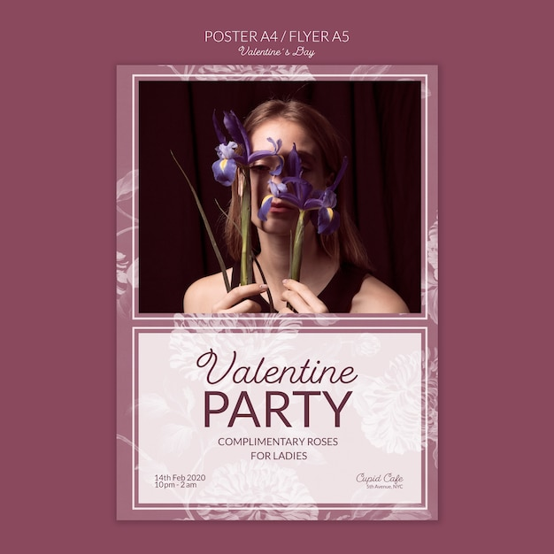 Valentine's day poster concept mock-up Free Psd
