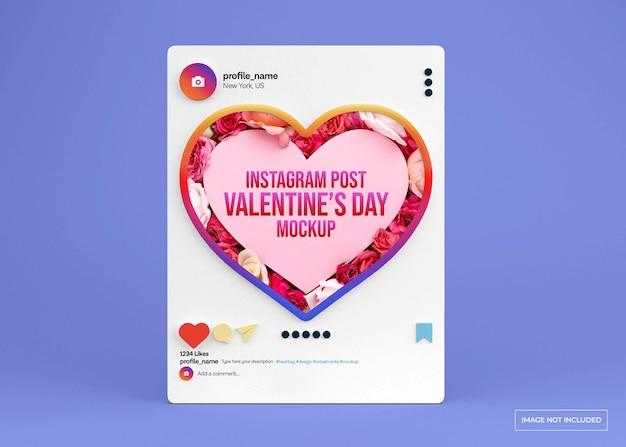 バレンタインデーのソーシャルメディア投稿モックアップ Premium Psd