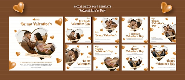 Шаблон сообщений в социальных сетях ко дню святого валентина Бесплатные Psd