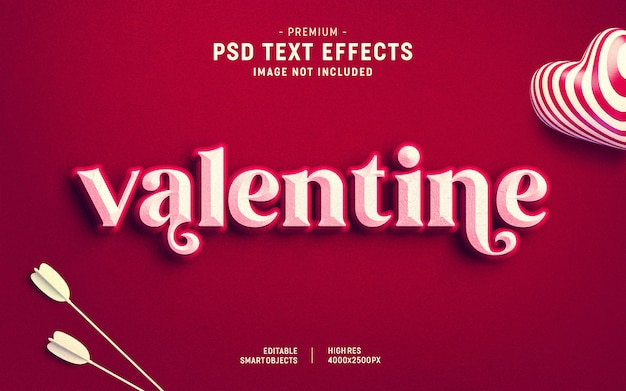 Valentine's day text effect template Premium Psd