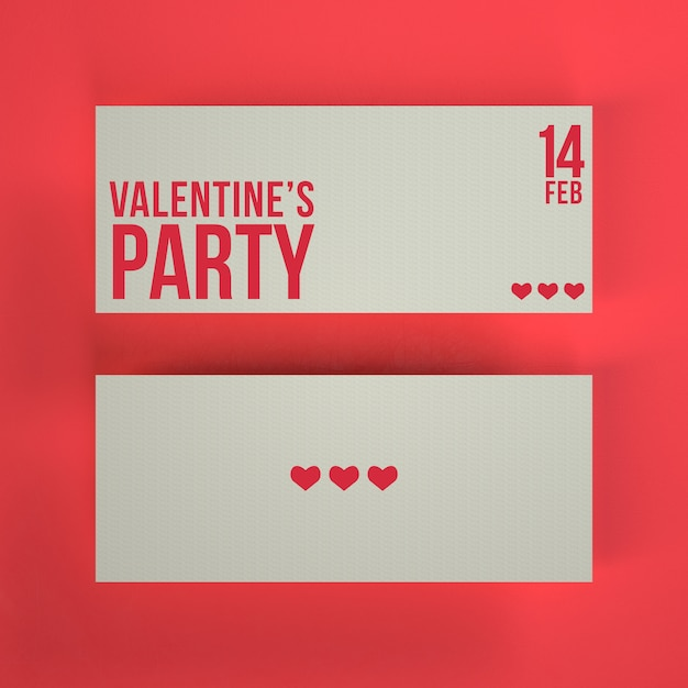 Valentine's party tickets mockup Free Psd