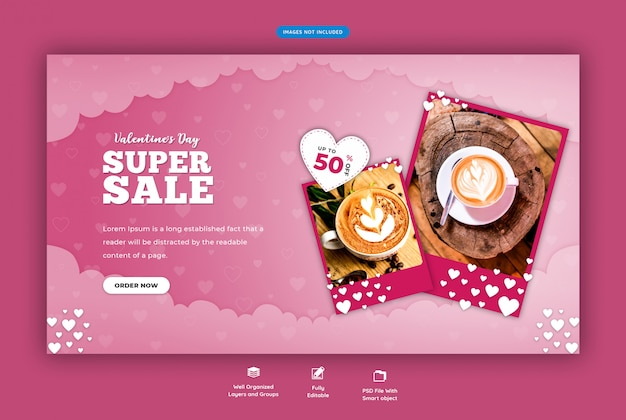 Valentine's sale banner template Premium Psd