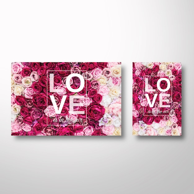 Valentine's template with flowers on the background Free Psd