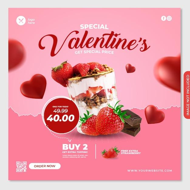 Valentine social media post banner template for food Premium Psd