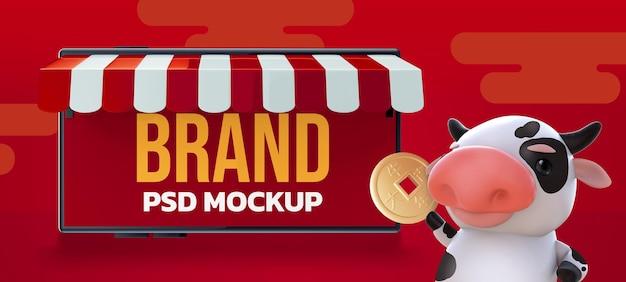 Valentine's day mockup 3d rendering design Premium Psd