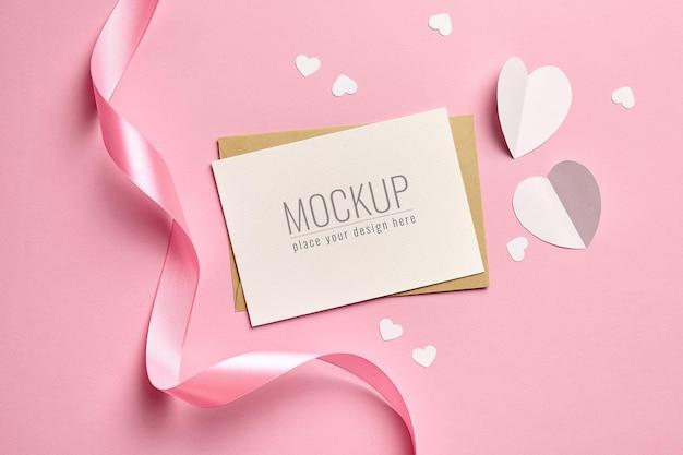 핑크 리본과 백서 마음으로 발렌타인 데이 카드 모형 프리미엄 PSD 파일
