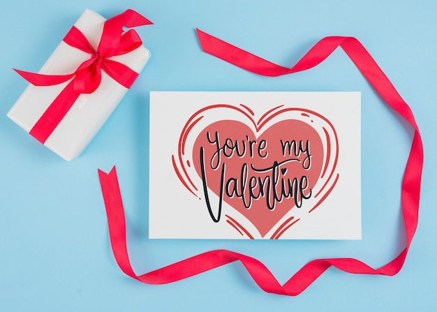 Valentines day card mockup with ribbon Free Psd