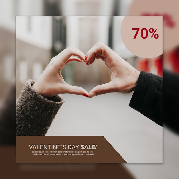 Valentines day cover mockup with image Free Psd