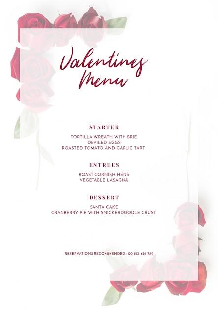 Valentines day menu mockup Free Psd