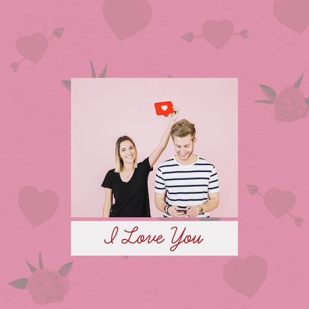 Valentines day mockup with image Free Psd