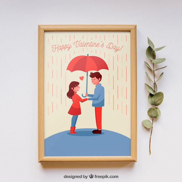Valentines frame and elements mockup Free Psd