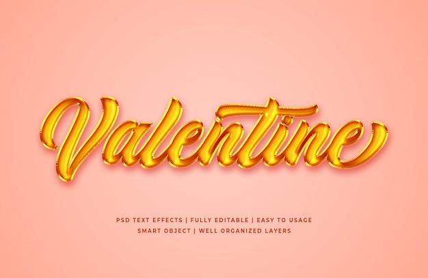 Valentines gold foil 3d text style effect mockup Premium Psd