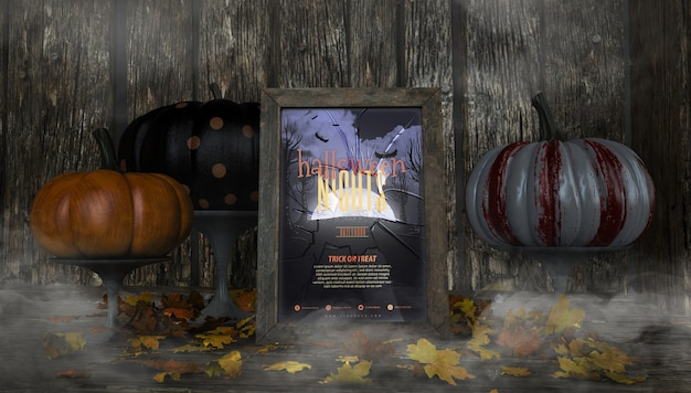 Variety of colourful pumpkins and halloween nights frame mock-up Free Psd