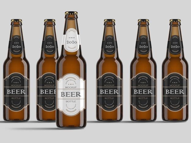 Разнообразие реалистичных вид спереди пивные бутылки макет шаблона Premium Psd