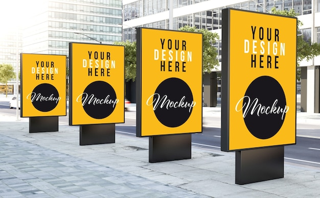 Various bus stops on the street mockup Premium Psd