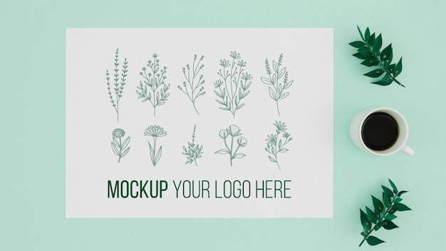 葉の植物モックアップのさまざまな図面 無料 Psd