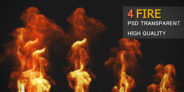 Various fire styles pack isolated Premium Psd