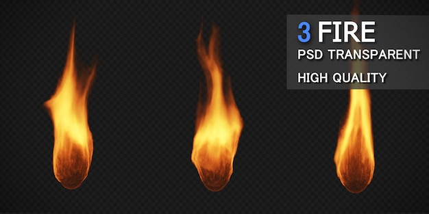 Набор различных стилей огня изолирован Premium Psd