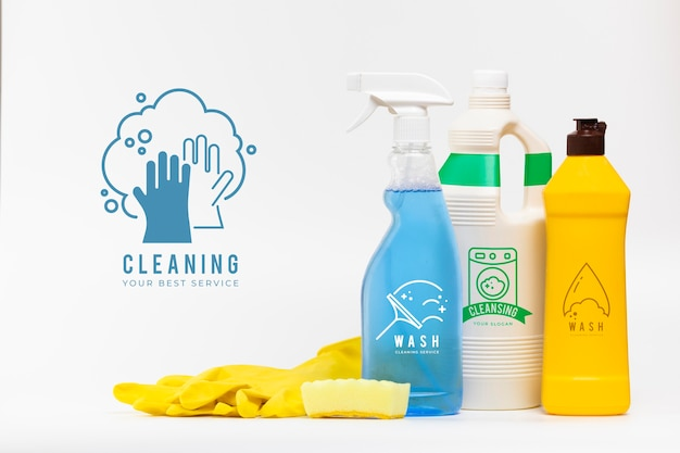 Various house cleaning products mock-up Free Psd