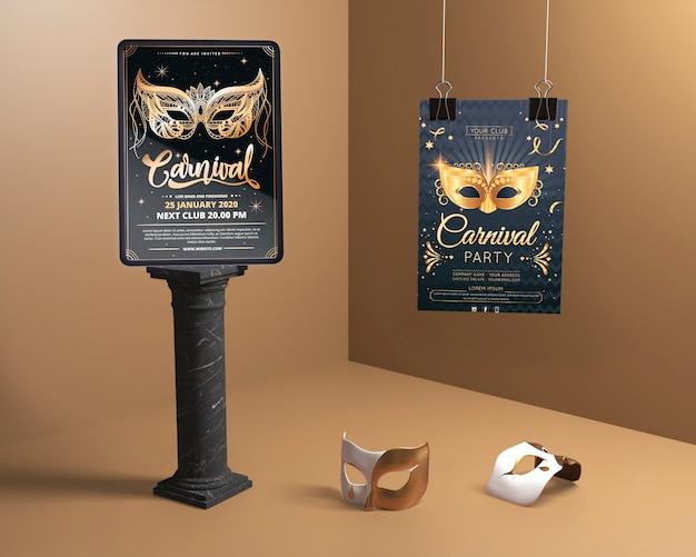 Vari modelli di mock-up per la festa in maschera di carnevale Psd Gratuite