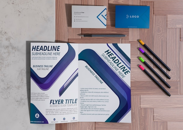 Various office supplies for brand company business mock-up paper Free Psd