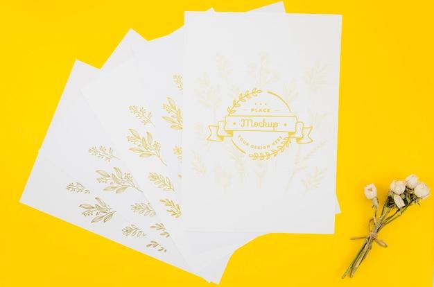 Vari documenti di mock-up botanico Psd Gratuite