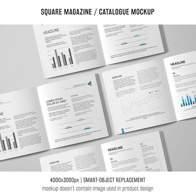 Various square magazine or catalogue mockups Free Psd