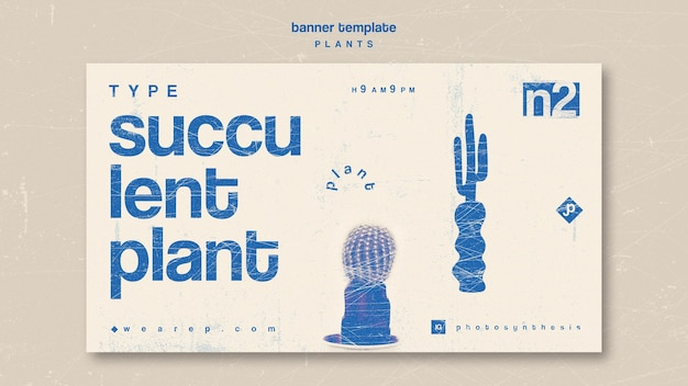 Various types of indoor plants banner Free Psd