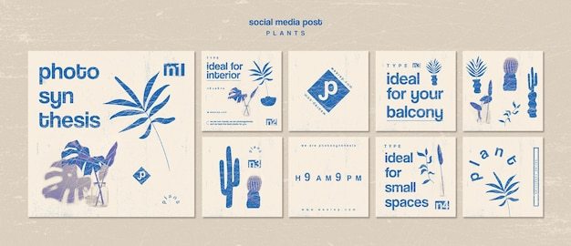 Various types of indoor plants social media post Free Psd