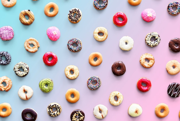 Varities of donut flavor shot in aerial view Free Psd