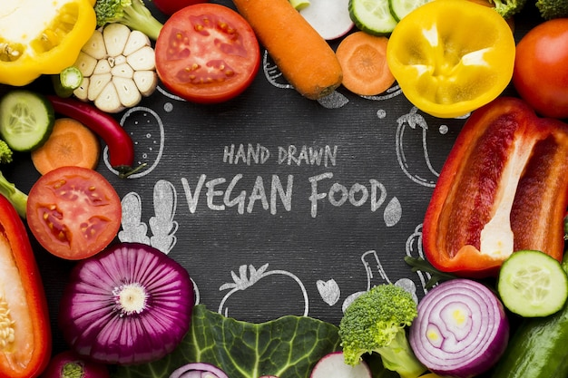 Vegan food with fresh vegetables Free Psd