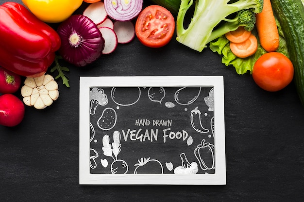 Vegan food with organic vegetables Free Psd