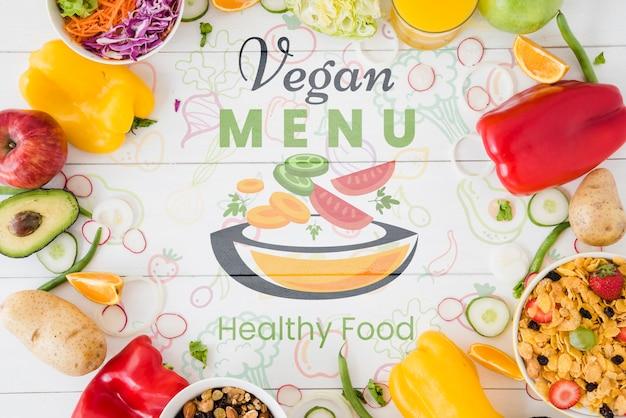 Vegan menu background with vegetables circle Free Psd