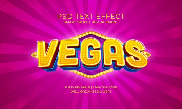 Шаблон светового текстового эффекта vegas bulb Premium Psd