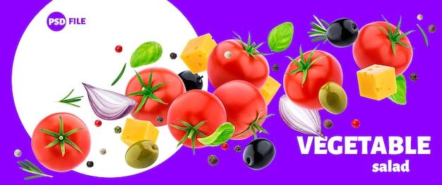 Vegetable salad ingredients isolated Premium Psd