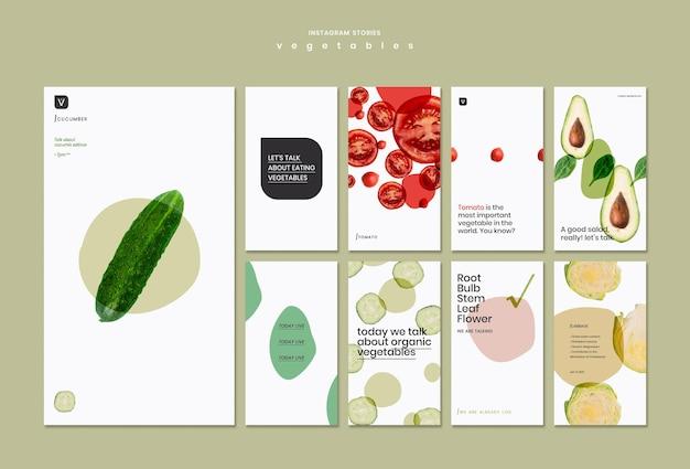 Modello di storie di instagram di concetto di verdure Psd Gratuite