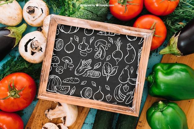 Vegetarian and slate mockup Free Psd