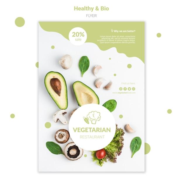 Vegetarian restaurant flyer template Free Psd