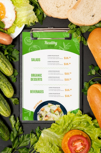 Veggies and egg restaurant morning menu Premium Psd