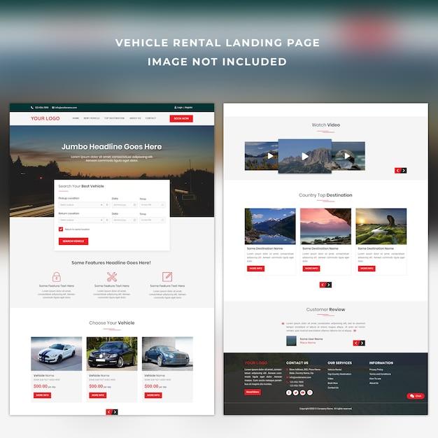 Vehicle rental landing page template Premium Psd