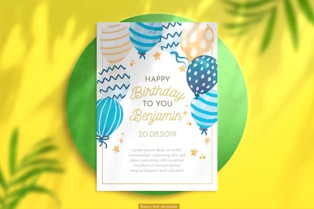 수직 생일 카드 모형 무료 PSD 파일