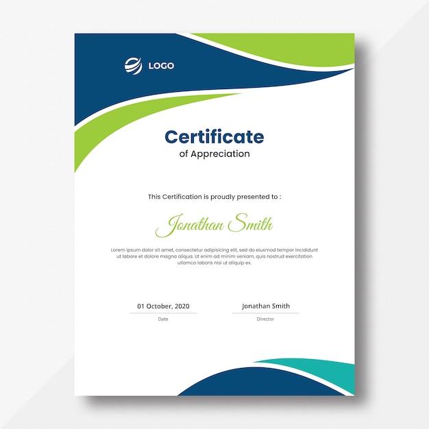 Vertical blue and green waves certificate design template Premium Psd
