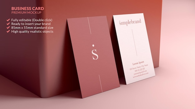 Vertical business card mockup resting on a wall minimal branding design concept Premium Psd