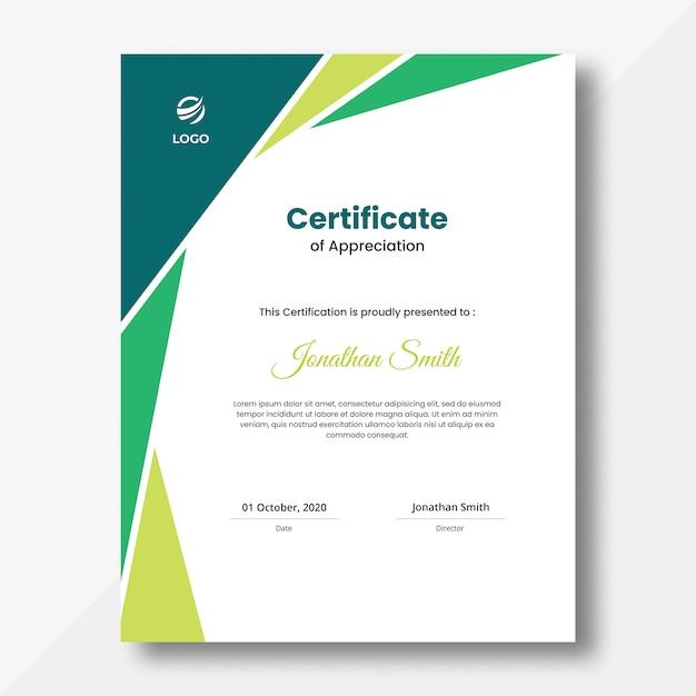 Vertical colored green geometric shapes certificate design template Premium Psd