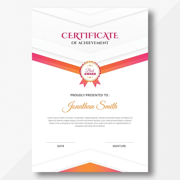 Vertical colored pink and orange geometric shapes certificate design template Premium Psd