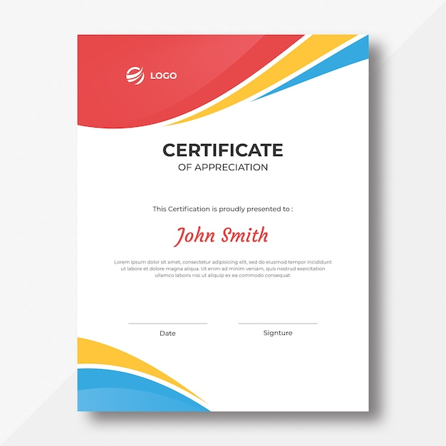 Vertical colored waves certificate design template Premium Psd