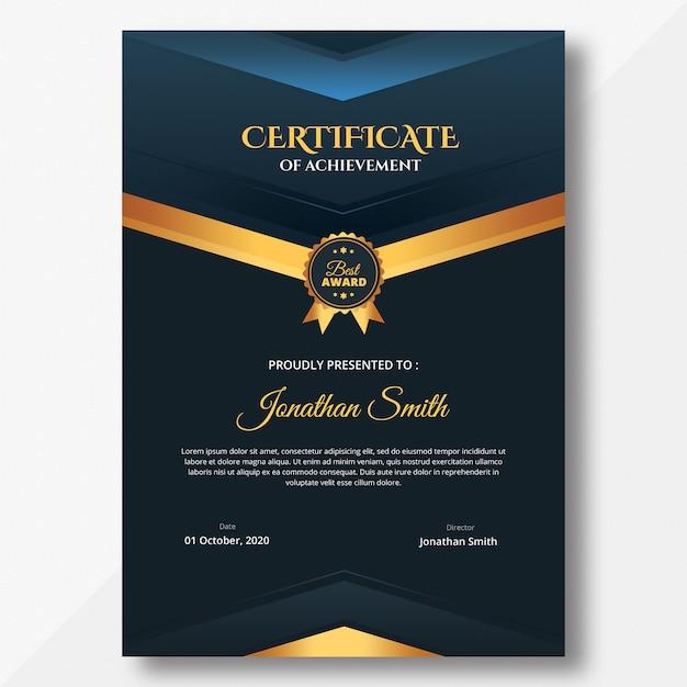 Vertical dark certificate template Premium Psd