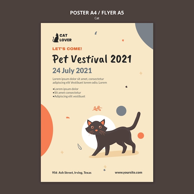 Vertical flyer for cat adoption Free Psd