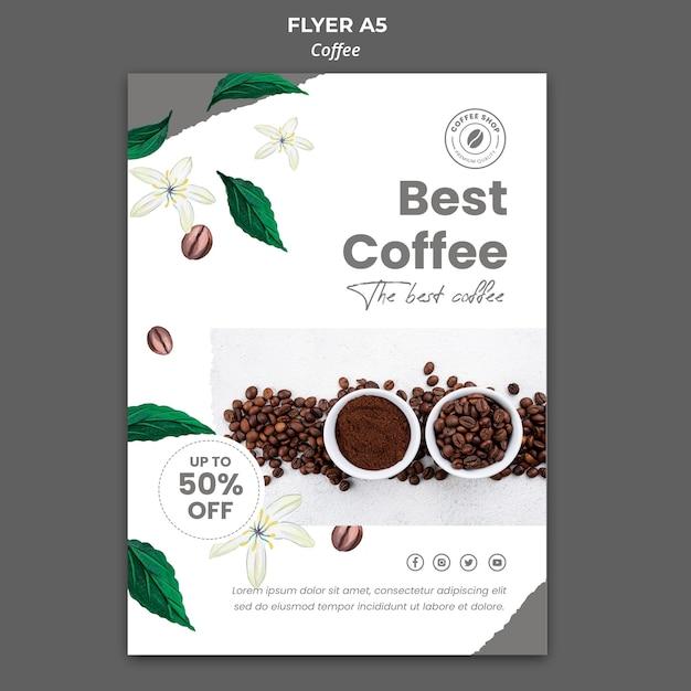 커피 용 수직 전단지 무료 PSD 파일