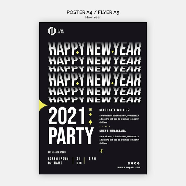 새해 파티를위한 수직 전단지 무료 PSD 파일